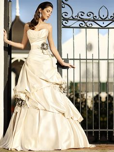 A-line Sweetheart Satin Chapel Train Ivory Flowers Wedding Dresses at Msdressy