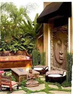 Zen space - I love this. Reminds me of Chaing Mai, Thailand. Zen space - I love this. Reminds me of Asian Garden, Balinese Garden, Outdoor Rooms, Outdoor Gardens, Outdoor Living, Outdoor Decor, Outdoor Seating, Wood Gardens, Zen Gardens