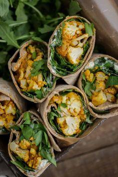Tandoori Cauliflower Wrap with Feta-Yogurt featuring @flatoubread | Naturally Ella #sponsored
