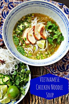 Vietnamese Chicken Noodle Soup ~ Simple and quick, using store-bought rotisserie chicken. This tastes like a very complex broth, but is actually very easy to put together.