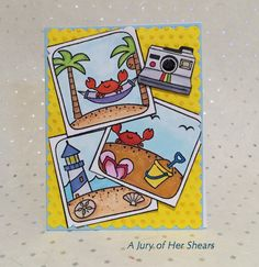"""Greeting Card (Jun 2016). #LawnFawn: """"Life is Good"""" """"#Awesome"""" Stitched Rectangles, Scalloped Rectangles, Cuttlebug embossing folder, Copic coloring"""