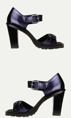 With a polished stacked heel and bold square roller buckles, the Mia features two foot straps with a 100% leather upper.