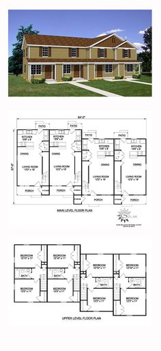 Quadplex Plan 94485 | Total Living Area: 3492 sq. ft., 8 bedrooms and 4 bathrooms. #multifamilyplan