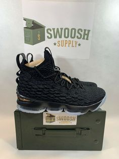 f6d44097cc8 Nike LeBron 15 XV Mens Size 9 Basketball Shoes Black Metallic Gold  897648-006