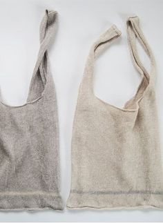 Linen knitted shopping bags by Eccomin. Thrift Store Crafts, Thrift Stores, Linen Bag, Fabric Bags, Knitted Bags, Purses And Bags, Knit Crochet, Reusable Tote Bags, Boho