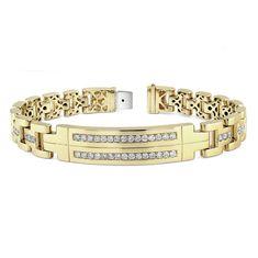 14k Yellow Gold Mens Diamond Bracelet - 14k Yellow Gold Mens Diamond Bracelet