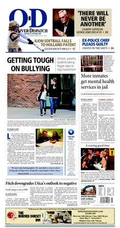 The front page for Saturday, April 27, 2013: Getting tough on bullying