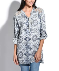 Taupe Arabesque Lace-Up Swing Tunic - Plus Too
