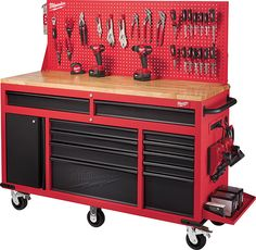 Milwaukee's new 60″ mobile tool cabinet, with a 22″ deep worktop, 11 drawers, cabinet, adjustable pegboard, and bundled accessories, is looking mighty fine.