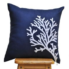 Navy White Pillow Cover, Throw Pillow Cover 18x18, White Coral on Navy Blue Linen, Pillow Acent Navy, Coral Cushion, Decorative Pillow Couch