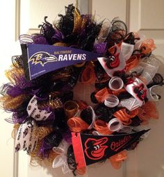 Spiral deco mesh wreath, Baltimore Ravens, Baltimore Orioles Wreath, Orange, Black, Purple, Pennants.
