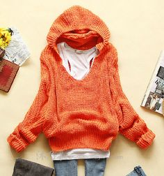 $25.00 | BAT LOOSE LONG-SLEEVED HOODED SWEATER CA922A