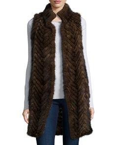 Herringbone Mink Fur Vest  by Belle Fare at Neiman Marcus.