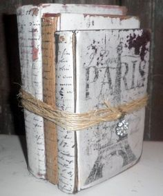 A Bundle of (3) Painted Vintage Books - Shabby-Chic  Beautifully Adorned to enhance any Decor (or Event)    Bound with String, Ive added a