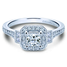 Preset Vintage 14k White Gold Princess Cut 3 Stones Halo Diamond Engagement Ring. $2,950