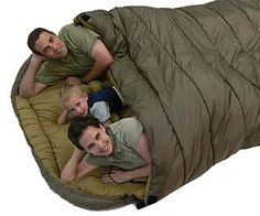 Family Sleeping Bag-- It's like a dream come true. I get to sleep on the ground AND have the whole family elbowing into me. TAKE MY MONEY NOW!