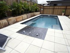 Fibreglass pool with tanning ledge