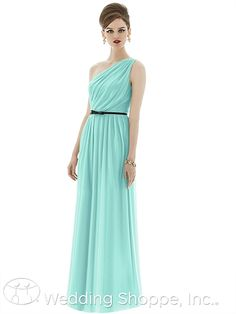 One shoulder chiffon bridesmaid dress.  Alfred Sung D653
