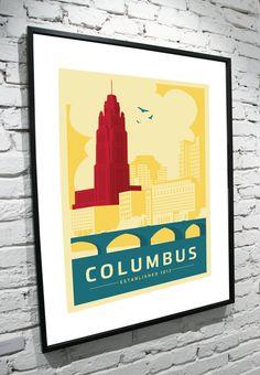 Columbus Ohio Skyline 11x14 Poster by TamiBohnDesign on Etsy, $25.00