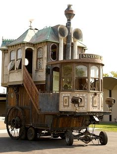 Steampunk version of a tiny house. Very fun, bohemian style. I think I have some pics of this at Burning Man (not ones I took, but, you know).