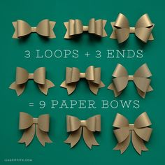 Create a beautiful variety of paper bows with our printable templates and your favorite metallic papers. Browse all of our gift wrap DIYs to impress!