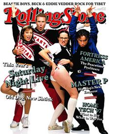 90s SNL characters (Spartan Cheerleaders, Mary Catherine Gallager, & Roxbury Guy - Doub Butabi) on the cover of Rolling Stone magazine