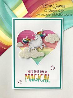Stampin Up Magical Day Unicorn birthday card. Loving the baby wipe swipe background technique! Erin Gunson NZ Demonstrator www.paperaddiction.co.nz