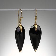 "@QUADRUM Annette Ferdinandsen- We love the dark elegance of Annette Ferdinandsen's ""Simple Bird"" earrings with onyx and 18k yellow gold."
