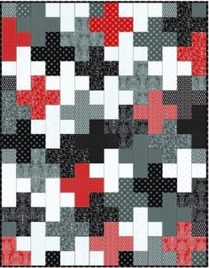 Pearle Plus quilt Jelly Roll Quilt Patterns, Quilt Patterns Free, Free Pattern, Plus Quilt, Black And White Quilts, Cross Quilt, Quilt Modernen, Man Quilt, Jellyroll Quilts
