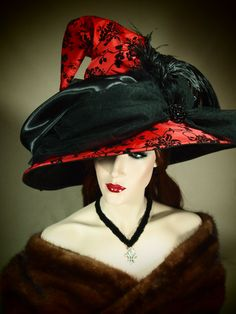 "Couture Witch Hat ""Melisandre"" 21"" OOAK - EvercrumblyAndWitch @ etsy"