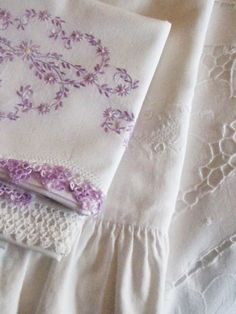Vintage White Linen with Lilac Embroidery & Crochet Edging . Embroidery Patterns, Hand Embroidery, Embroidery Stitches, Lavender Cottage, Purple Home, Romantic Cottage, Shabby Cottage, Linens And Lace, Fine Linens
