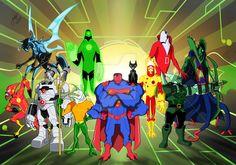 Ben 10 as the Justice League by Carlos Siva Aliens, Blue Jurassic World, Dragon Occidental, Ben 10 Comics, Dc Comics, Character Art, Character Design, Lego Custom Minifigures, Generator Rex