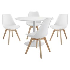LANCE 4 seater dining set with Lance white table and 4 Jerry white chairs