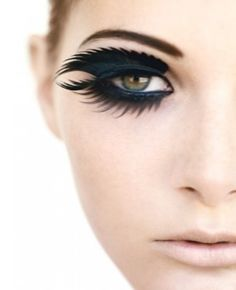 Two sets of eye lashes put above and under... colool