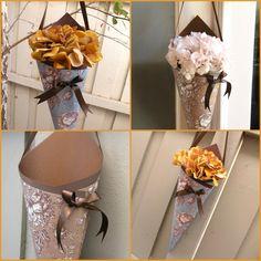 Burlap feather cone with white ribbon centralflweddingflowers www wedding wedding decor cones2 diy boutonnierewedding decorationspaper cones springboardflower mightylinksfo Image collections