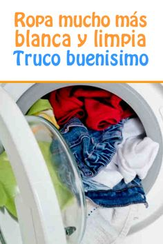 Ropa mucho más blanca y limpia, truco buenisimo House Cleaning Tips, Green Cleaning, Diy Cleaning Products, Cleaning Hacks, Casa Clean, Clean House, Limpieza Natural, Laundry Hacks, Home Hacks