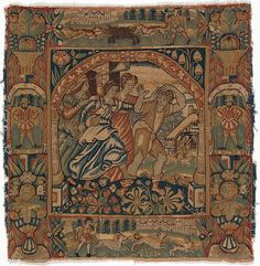 Attributed to an Anonymous Workshop, British, London. The Prodigal Son Driven out by Harlots from a set of six of The Parable of the Prodigal Son (front) | Persecution of Protestants in the 16th & 17th centuries caused many Flemish tapestry weavers to flee to England. The parable of the prodigal son was traditionally understood as a warning against the pitfalls of depravity and excess; however, his wearying journey and desire to return home may also have resonated with displaced weavers.