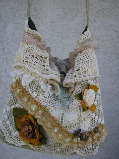 Vintage Doily Bag real soft romantic lace by TatteredDelicates