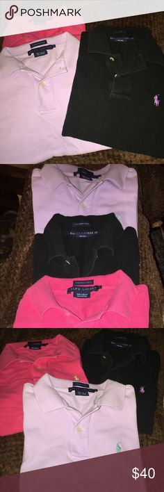 Polo shirt bundle... Ralph Lauren, The Skinny Polo shirt 100% cotton.  This is for 3 shirts, black, pink & light purple. Black is marked S/P but theres barely if any difference.  These have been worn & loved but still have plenty of life! FIRM!! Ralph Lauren Tops