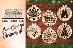 Merry Christmas Tree Ornament SVG Bundle Glowforge Files (881692) | Illustrations | Design Bundles