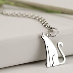 Sterling Silver Cat Necklace - Cat Jewellery - Cat Lover Gift - Sterling Silver Jewellery - UK Handmade - Crazy Cat Lady