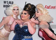 Drag queens Pearl Liaison, Ginger Minj and Violet Chachki attend Logo TV's 'RuPaul's Drag Race' season finale event at Orpheum Theatre on May 19, 2015 in Los Angeles, California.