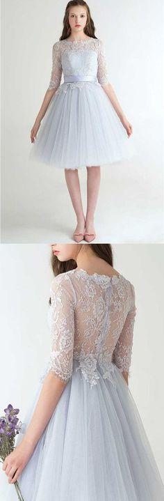 U0094 ,tulle, lace, half sleeves ,lace dresses,a-line ,fashion,tea length