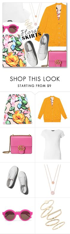 """""""The Perfect Summer Floral Skirt"""" by dressedbyrose ❤ liked on Polyvore featuring Love Moschino, Gucci, Dorothy Perkins, Abercrombie & Fitch, Michael Kors, Preen, BP. and Floralskirts"""