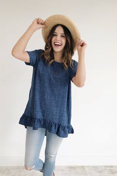 Denim Peplum Heathered Detail Short Sleeve Rounded Neckline Low Cut Ruffle Hem Subtle Hi-Lo Also Available in Plum Size Chart Model is + Wearing a Small Summer Outfits, Casual Outfits, Cute Outfits, Look Fashion, Fashion Outfits, Womens Fashion, Mode Style, Style Me, Spring Summer Fashion