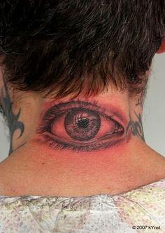 com img src http www tattoostime com images 33 red eye tattoo Insane Tattoos, Creepy Tattoos, Cat Tattoos, Creepy Eyes, Creepy Images, Side Tattoos, Neck Tattoos, Girl Fashion Style, Detailed Tattoo