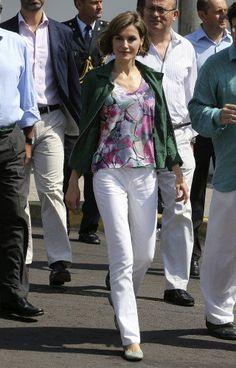 Spain's Queen Letizia arrives at the Spanish Cultural Centre, 'La Casa Tomada' in Jiquilisco, El Salvador.