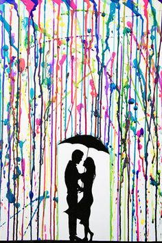 Couple standing in the rain