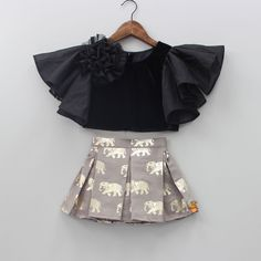 Pre Order: Black Top And Grey Skirt With Golden Elephant Print - kids wear - Kids Outfit Baby Girl Frocks, Frocks For Girls, Dresses Kids Girl, Kids Outfits Girls, Girl Outfits, Fashion Outfits, Girls Frock Design, Kids Frocks Design, Baby Frocks Designs