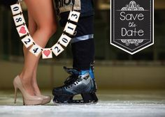 My & Robert's Save-the-Date! Here comes the mix of elegance and hockey ;) (Featured here on Etsy, from the BannerLuv who made our date banner)